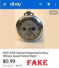 WW2 WWll German Kriegsmarine Navy Officers Award Pocket Watch