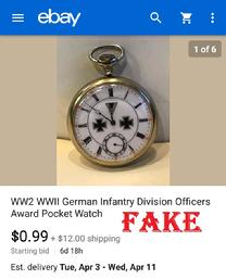 WW2 WWll German Infantry Division Officers Award Pocket Watch