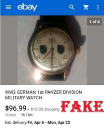 fake nazi watches, ebay, WW2 German