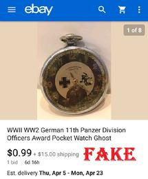 WWll WW2 German 11th Panzer Division Officers Award Pocket Watch Ghost