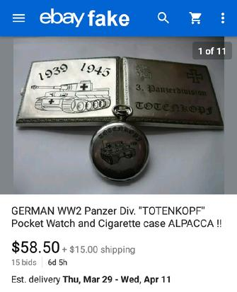 Panzer Div. TOTENKOPF Pocket Watch and Cigarette Case