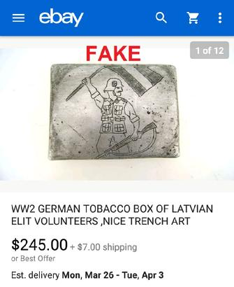 Nazi Cigarette Case, ebay, fake, WW2, German