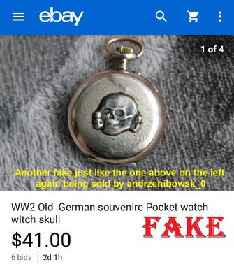 WW2 Old German souvenire Pocket watch skull, fake SS watch, Polish watch, ebay fake