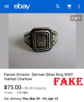 Panzer Division German Silver Ring WW2 marked Charkow