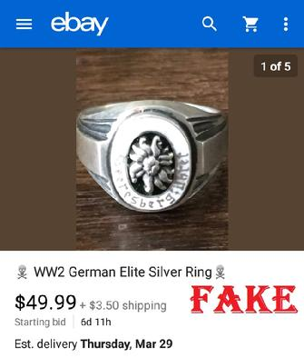 WW2 German Elite Silver Ring, ebay