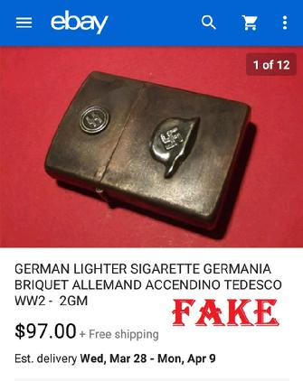 GERMAN LIGHTER SIGARETTE GERMANIA BRIQUET ALLEMAND ACCENDING TEDECO WW2 - 2GM
