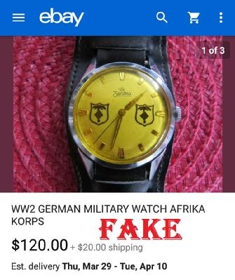 Fake Nazi Watch, ebay fakes, WW2 German Fakes
