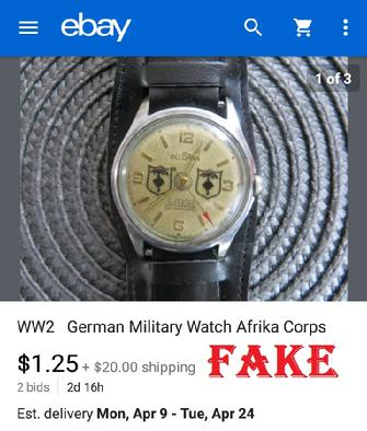 Fake Nazi Watch, German WW2 Fakes, Nazi Watch, ebay fakes,