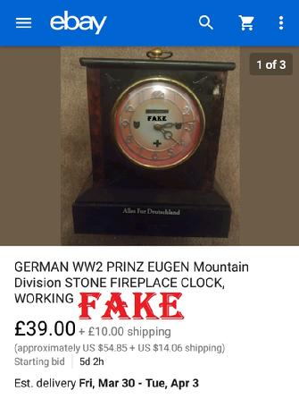 GERMAN WW2 PRINZ EUGEN Mountain Division STONE FIREPLACE CLOCK