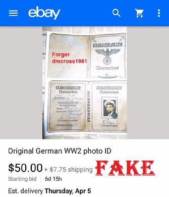 Fake Nazi ID, Passbook, WW2 Germany, ebay, fraud