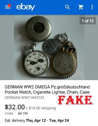 GERMAN WW2 OMEGA Pz.grobdeutshland Pocket Watch, Cigarette Lighter, Chain, Case