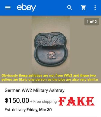 fake nazi ashtrays, fake SS items on ebay, fraud, forgery
