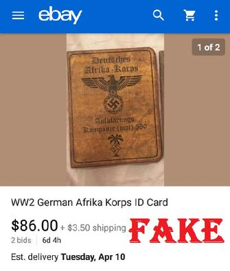 Fake Nazi ID on ebay, WW2 fakes, ebay fraud