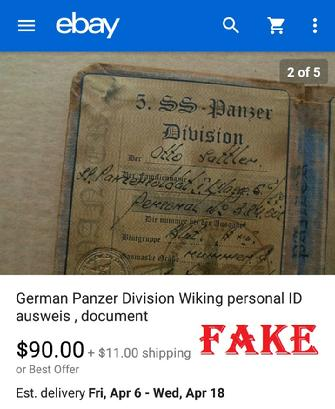 German Panzer Division Wiking personal ID ausweis document