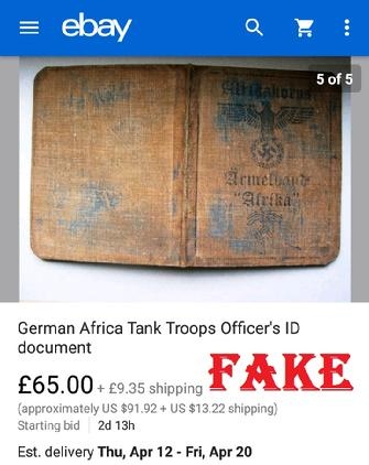 German Africa Tank Troops Officers ID document