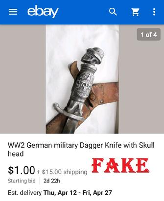 WW2 German military Dagger Knif with Skull head