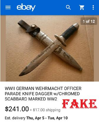 WWll GERMAN WEHRMACHT OFFICER PARADE KNIFE DAGGER w/CHROMED SCABBARD MARKED WW2