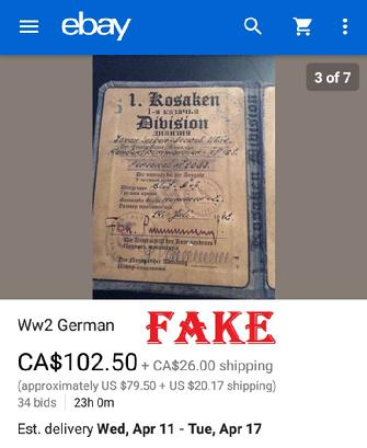 fake nazi ID on ebay