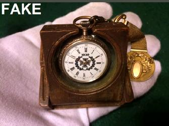 GERMAN WW2 Gold/F Two Tone Pocket Watch Wooden Folding Box, Chain