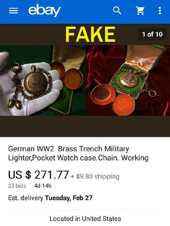 German WW2 Brass Trench Military Lighter, Pocket Watch