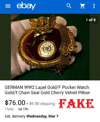 German WW2 Lapel Gold/F Pocket Watch