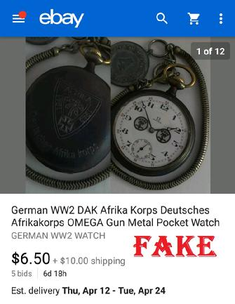 GERMAN WW2 DAK Afrika Korps Deutsches Afrikakorps OMAGA Gun Metal Pocket Watch