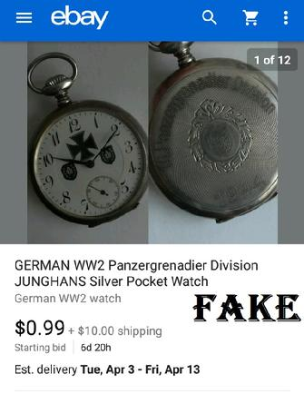 GERMAN WW2 Panzergrenadier Division JUNGHANS Silver Pocket Watch