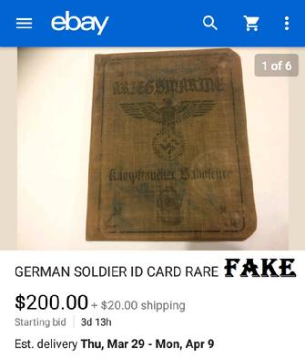 Fake Nazi ID, trenchula, ebay, fraud, passbooks, WW2, German ID