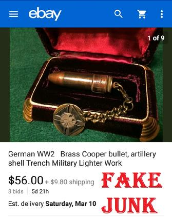 German WW2 Brass Copper Bullet artillary shell, trench military lighter