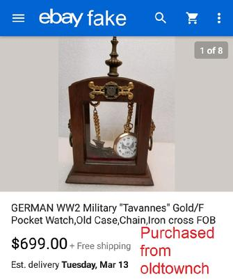 "German WW2 Military ""Tavannes"" Gold/F Pocket Watch"