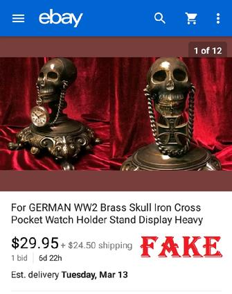 German WW2 Brass Skull Iron Cross Pocket Watch Holder Stand