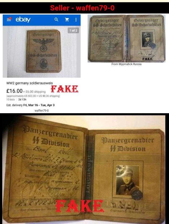 Fake Nazi Passbook, Nazi ID, German WW2 Fakes, ebay fraud