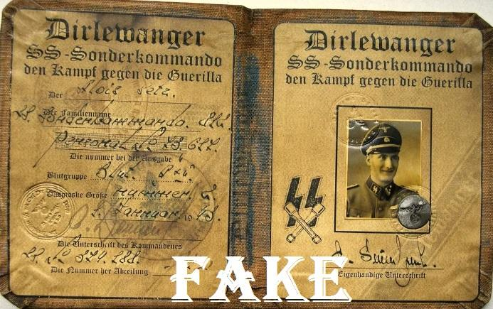 German Anti Guerilla Dirlewanger Sonderkommando ID Document