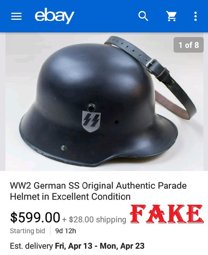 Fake Nazi Helmets on ebay, Fake ss Helmet