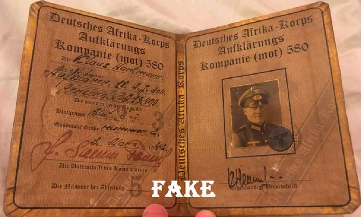 fake nazi ID, WW2 fake ID, German passbooks ww2, fake nazi sales on ebay