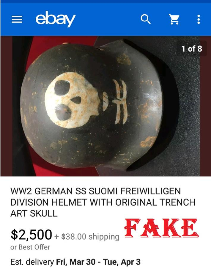 WW2 GERMAN SS SUOMI FREIWILLIGEN DIVISION HELMET WITH ORIGINAL TRENCH ART SKULL