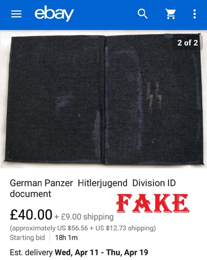 German Panzer Hitlerjugend Division ID document