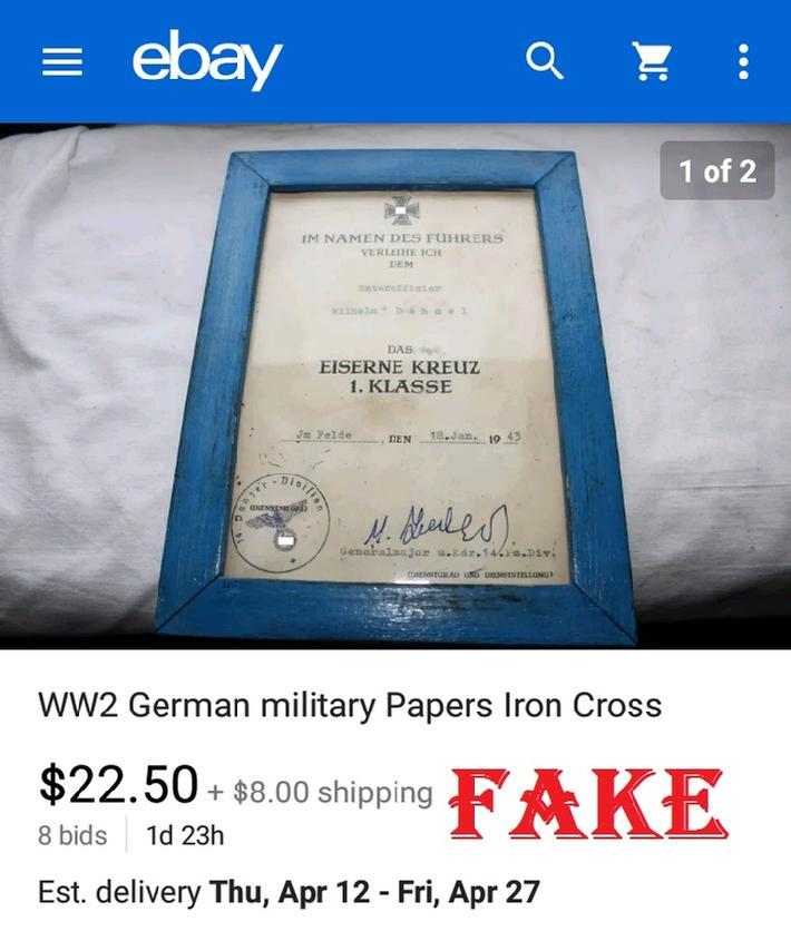 Fake WW2 German Military Papers Iron Cross