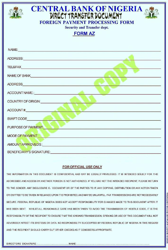 Form I Was Requested To Fill Out