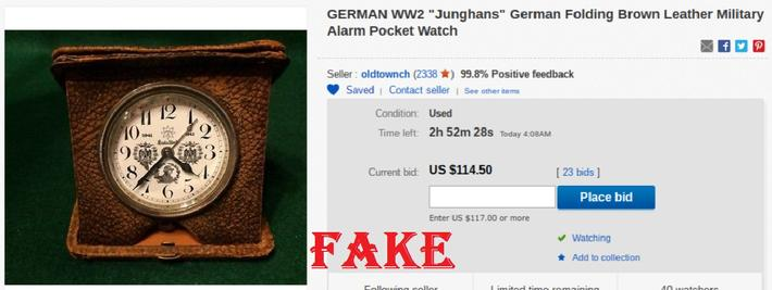 "GERMAN WW2 ""Junghans"" German Folding Brown Leather Military Alarm"